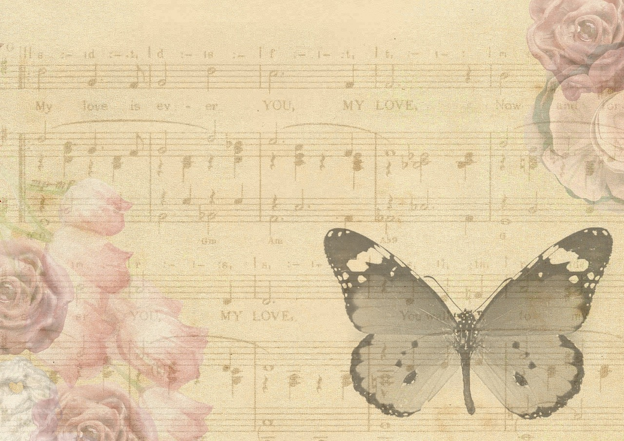 Vintage Butterfly Music Sheet